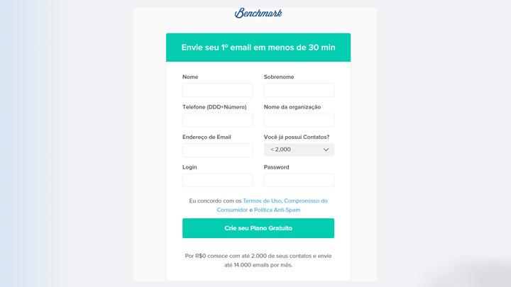 Email markeitng benchmark inscrição - negocio online