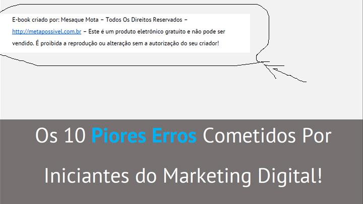 mensagem de direitos - ebook 10 erros - criar um negócio na iternet