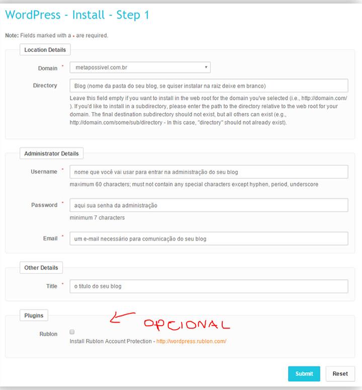 Como Fazer Um Blog Grátis E Personalizado Passo A Passo - dados instalação
