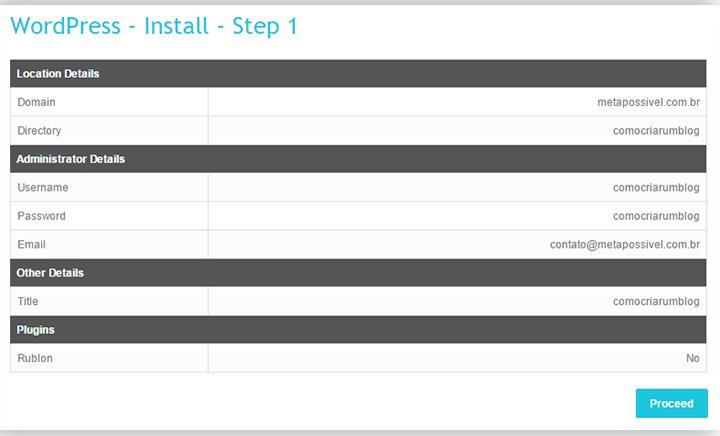 como fazer um blog gratis e personalizado passo a passo - terminio instalação wp