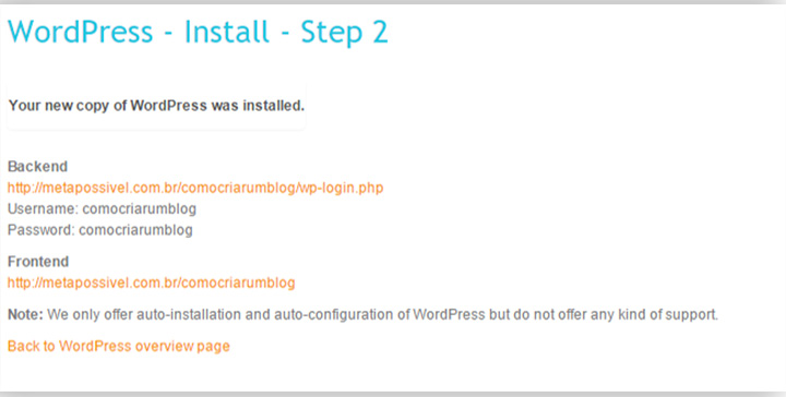como fazer um blog gratis passo a passo - dados instalação final wp