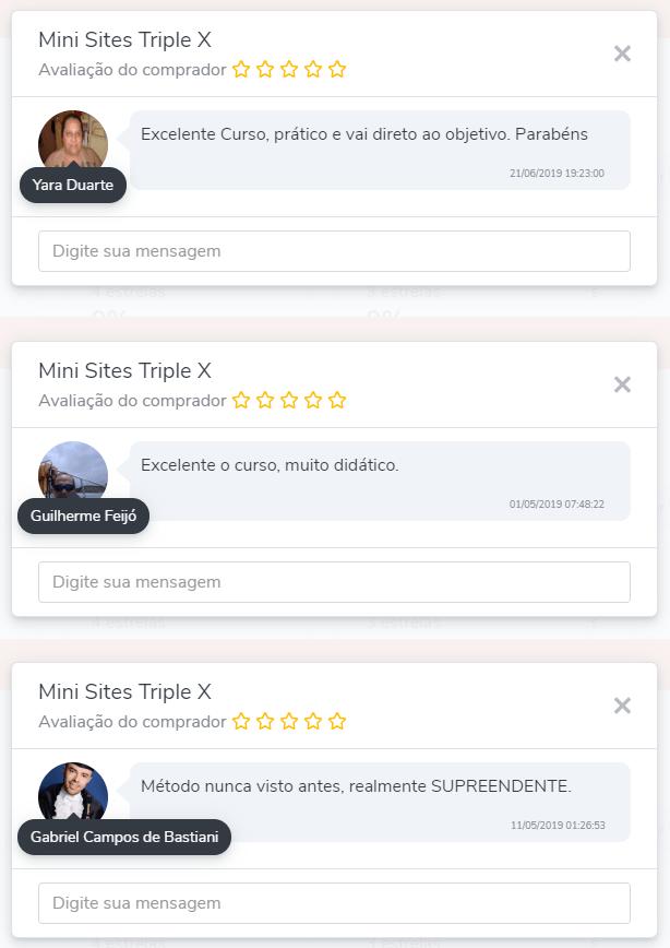 Depoimentos de alunos do curso mini sites triple-x